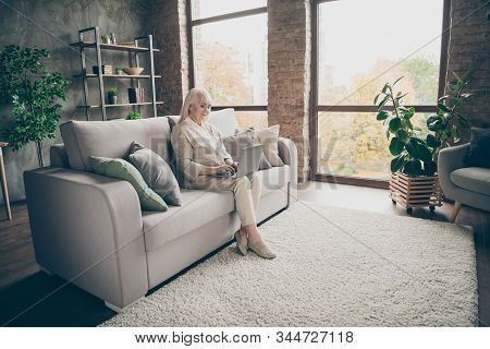 Nice Attractive Calm Peaceful Focused Kind Skilled Gray-haired Lady Sitting On Divan Browsing Inform
