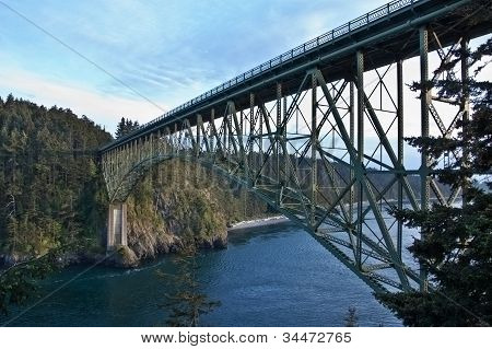 Steel Bridge Over Treacherous Channel Water - Deception Pass, Wa