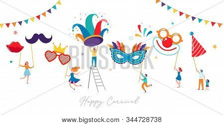 Carnival, Party, Purim Background With Tiny, Miniature People, Families, Kids And Young Adults Jumpi