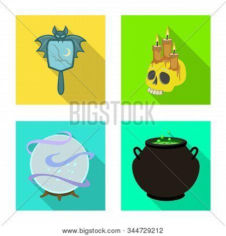 Vector Design Of Witchcraft And Mystic Symbol. Set Of Witchcraft And Magic Vector Icon For Stock.