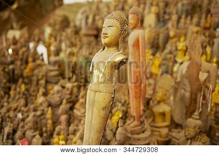 Luang Prabang, Laos - April 12, 2012: Buddha Statues In The Tham Ting Cave With Over 4000 Buddha Fig