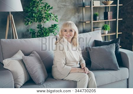 Portrait Of Her She Nice Attractive Friendly Kind Cheerful Cheery Gray-haired Blond Middle Aged Gran