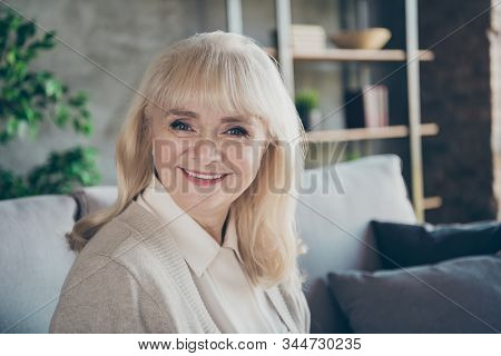 Closeup Photo Of Amazing Blond Adorable Aged Granny Homey Good Mood Toothy Beaming Smiling Cheerful