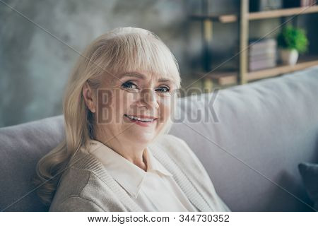 Closeup Photo Of Amazing Adorable Aged Granny Homey Good Mood Toothy Beaming Smiling Sitting Comfort