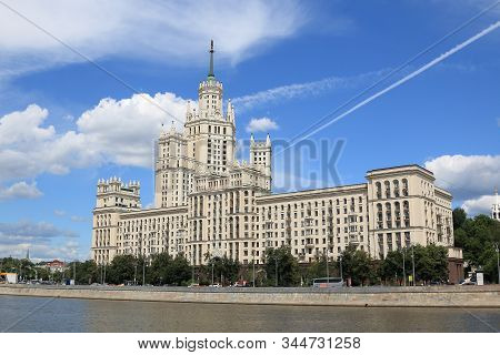 Moscow, Russia - June 25, 2019: High-rise Building On Kotelnicheskaya Embankment Of Moscow River Is
