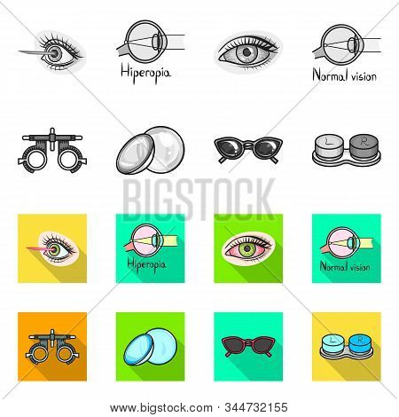 Isolated Object Of Optometry And Medicine Symbol. Set Of Optometry And Diagnostic Vector Icon For St