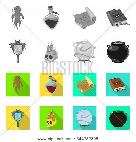Vector Design Of Witchcraft And Mystic Icon. Collection Of Witchcraft And Magic Stock Vector Illustr