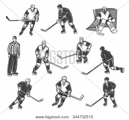 Ice Hockey Referee And Players In Motion, Vector Characters. Professional Ice Hockey Sport Team Goal