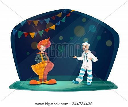 Circus And Funfair Carnival, Circus Vector Cartoon Characters. Clown In Red Wig And Big Trousers, Mi