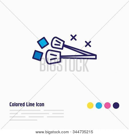 Vector Illustration Of Ice Tongs Icon Colored Line. Beautiful Utensil Element Also Can Be Used As Ut
