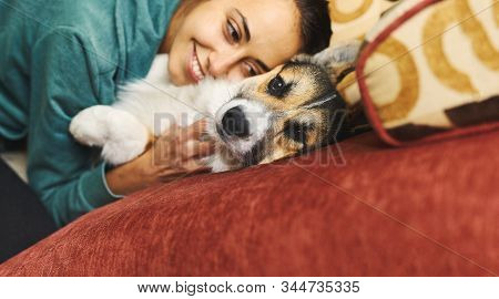 Portrait Of Young Smiling Woman Hugging Pet. Cute Welsh Corgi Puppy Resting With Owner, Spending Tim