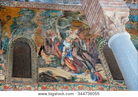 Palermo, Italy: Mythic Horserider On Colorful Mosaic In 12th Century Cappella Palatina Of The Royal