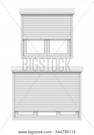 Windows With Roller Shutters, Half Opened. Vector 3d Realistic White Plastic Casement Windows With M