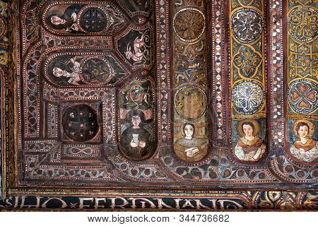 Palermo, Italy: Magnificent Wooden Ceiling With Saints Portraits Of 12th Century Cappella Palatina I