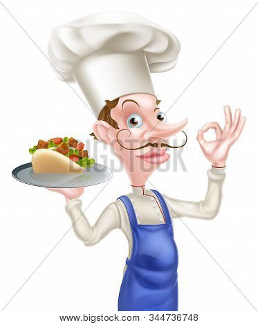 An Illustration Of A Cartoon Chef Holding Kebab Giving Perfect Sign