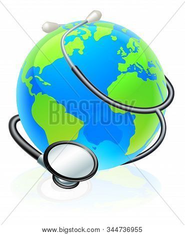An Earth World Globe With A Stethoscope Wrapped Around It.