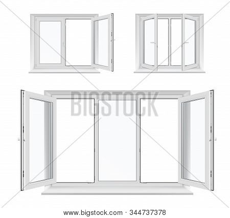 Windows With Opened Casements, Vector White Plastic Frames, Sills And Glass Panes, Architecture And