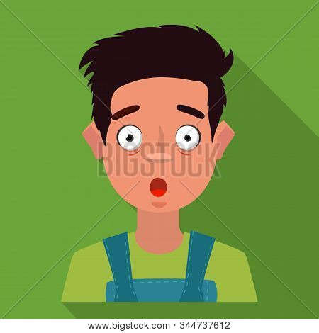 Vector Design Of Guy And Fright Logo. Collection Of Guy And Surprise Vector Icon For Stock.