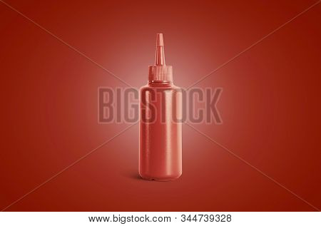 Blank Catsup Squeeze Sauce Bottle Mockup, Red Background