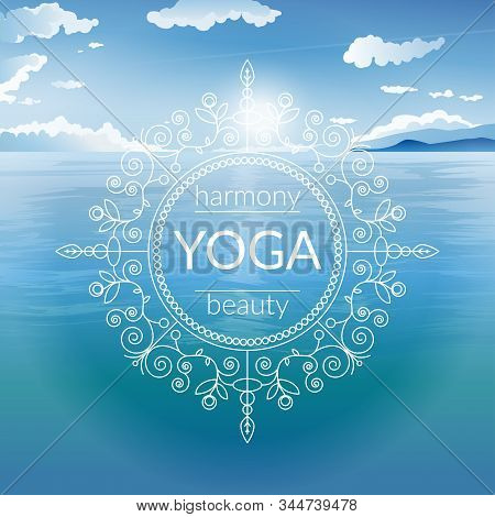 Vector yoga illustration with sun, sea and ethnic patterns and sample text in blue colors for use as template of poster, flyer or backdrop for yoga studio or fitness center.