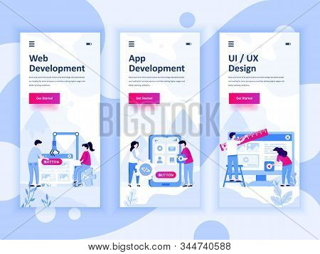 Set Of Onboarding Screens User Interface Kit For Web And App Development, Ui Design, Mobile App Temp