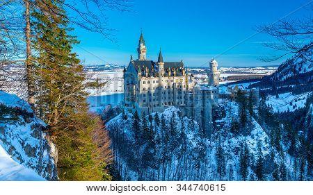 Beautiful View Of World-famous Neuschwanstein Castle, Southwest Bavaria, Germany