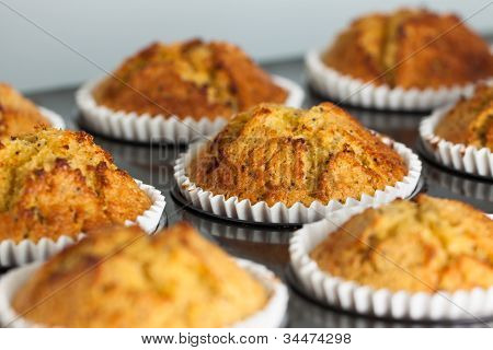 Homemade banana and chia seed muffins