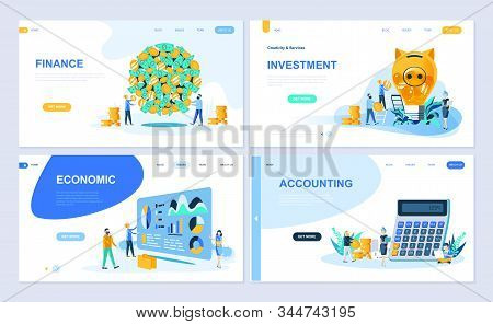 Set Of Landing Page Template For Finance, Investment, Accounting, Economic Growth. Modern Vector Ill