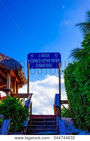 Half Moon Cay, Bahamas - December 02, 2019: Welcome Sign At Fort San Salvador At Half Moon Cay, Litt