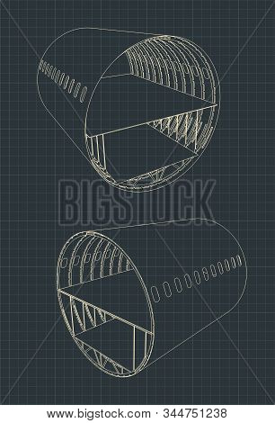 Vector Illustration Of Drawings Of An Airplane Fuselage Section