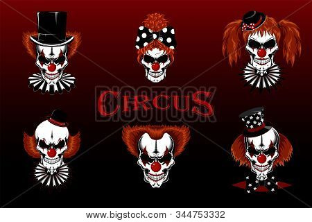 Set Of Vector Images Of Evil Skulls Of Clowns. Clowns In Hats And Jabot.