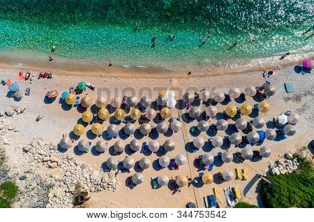 Aerial Drone Bird's Eye View Of Of Mega Drafi Beach With Turquoise Sea In Parga Area, Ionian Sea, Ep