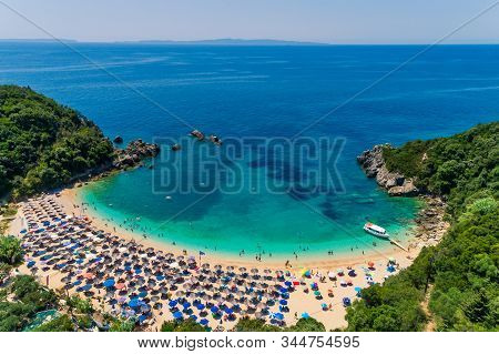 Aerial Drone Bird's Eye View Of Sarakiniko Beach With Turquoise Sea In Parga Area, Ionian Sea, Epiru