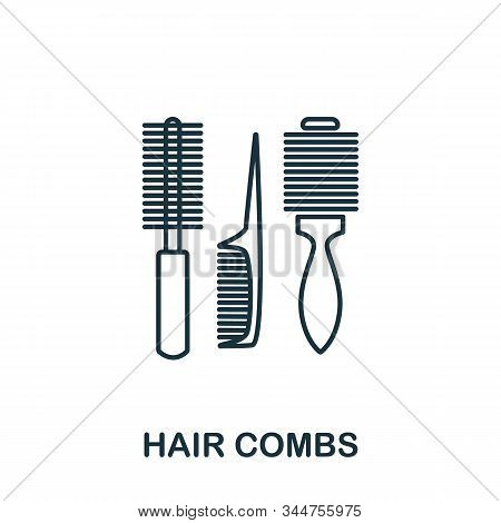 Hair Combs Icon From Makeup And Beauty Collection. Simple Line Element Hair Combs Symbol For Templat