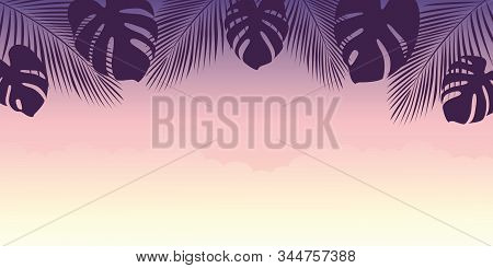 Beautiful Purple Sunset Summer Holiday Design With Palm Tree Leaves Vector Illustration Eps10