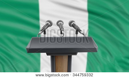 3d Illustration. Podium Lectern With Microphones And Nigerian Flag In Background