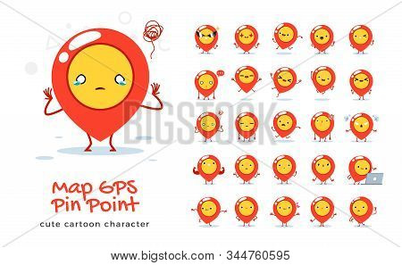 Vector Set Of Cartoon Images Of Gps Pinpoint