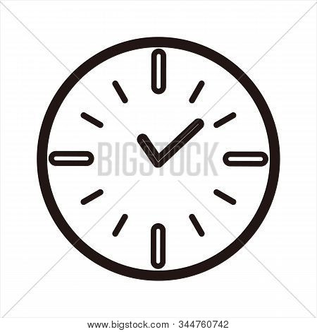 Clock Icon, Simple Icon. Icon Combined With A Clockwork Image. Clock Icon And Pointer. Icon With A T