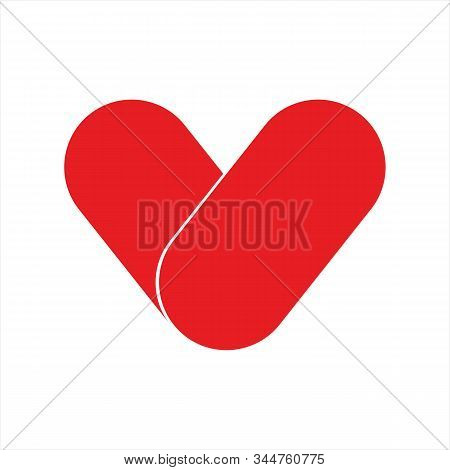 Heart Icon, Icon With A White Background. Simple Icon. Heart Icon Combined With A Simple Picture. Re
