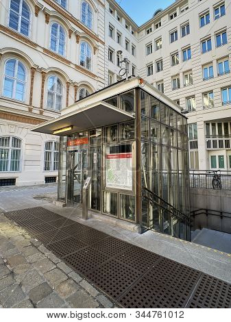 Vienna, Austria - January 12, 2019: The Vienna U-bahn Station Herrengasse (minoritenplatz) Of U3-lin