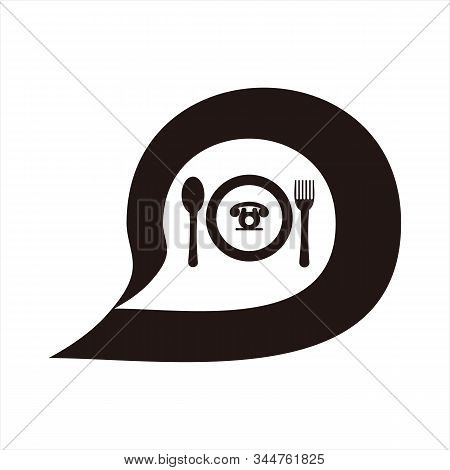 Message Icon, Icon With A White Background. Simple Icon. Message Icon Combined With A Cutlery Image.