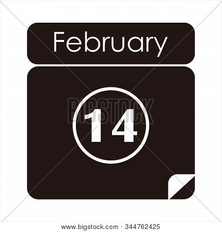 Valentines Icon. Simple Against A White Background. Icon In Combination With Date Fourteen. Valentin