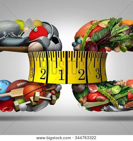 Sport And Nutrition As A Health And Fitness Concept With A Tape Measure As A Wellness Lifestyle,symb
