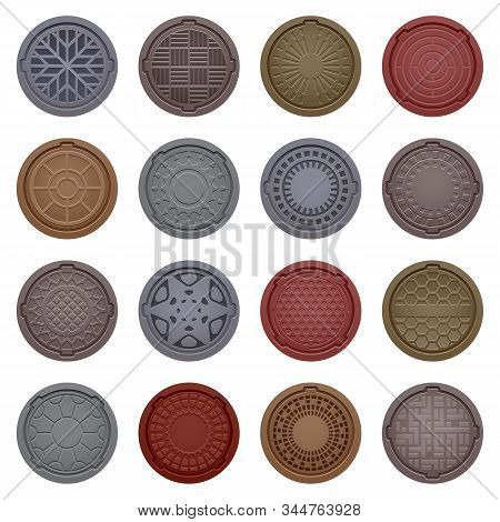 Set Of Isolated Hatch For Street Or Manhole For Sewer. Vector Round Grate Or Metal Gutter Cover. Met