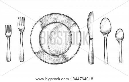 Sketch Of Plate And Spoon, Fork And Knife. Kitchen Utensil Or Silverware, Cutlery And Crockery, Tabl