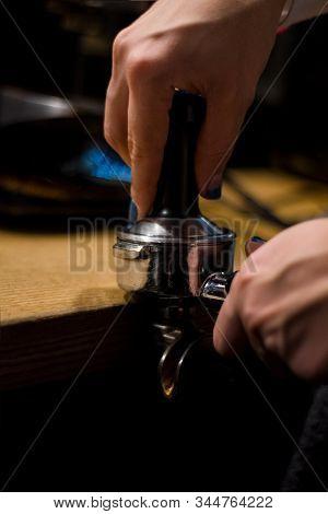 Cappuccino Preparation Process In Coffee Shop. Profession Barista. The Invigorating Coffee Drink.