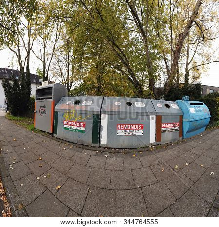 Bonn Germany, 16 Dec 2019: Garbage Boxes To Collect Different Colours Of Glass Pano