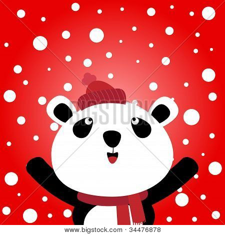 Panda with snowy background