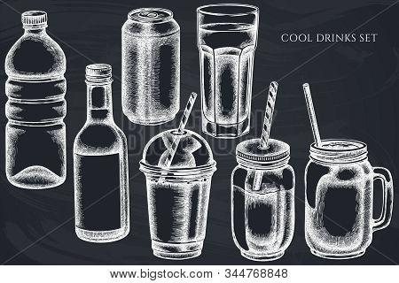 Vector Set Of Hand Drawn Chalk Glass, Plastic Bottle, Bottle Of Lemonade, Smoothie Cup, Aluminum Can