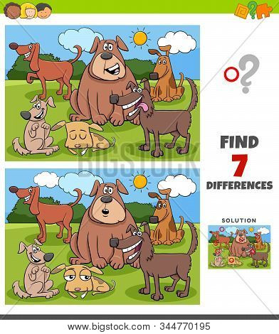 Cartoon Illustration Of Finding Differences Between Pictures Educational Game For Children With Funn